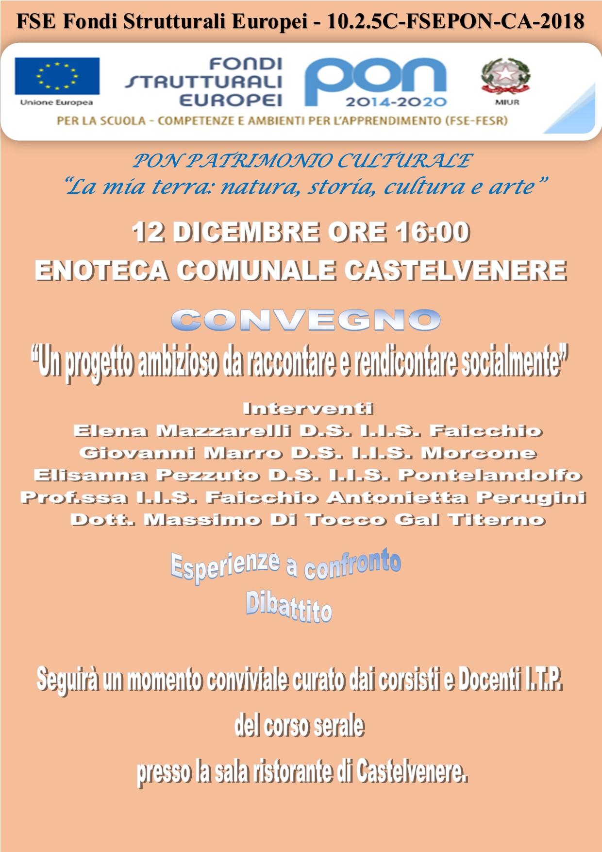 CONVEGNO 12 DICEMBRE 2019 ORE 16:00 CASTELVENERE