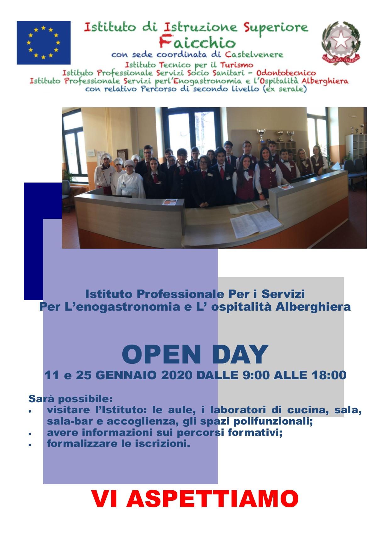 OPEN DAY SABATO 25 GENNAIO  DALLE ORE 09:00 ALLE ORE 18:00